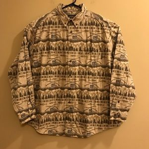 Woolrich Fishing Print Long Sleeve Button Up Shirt